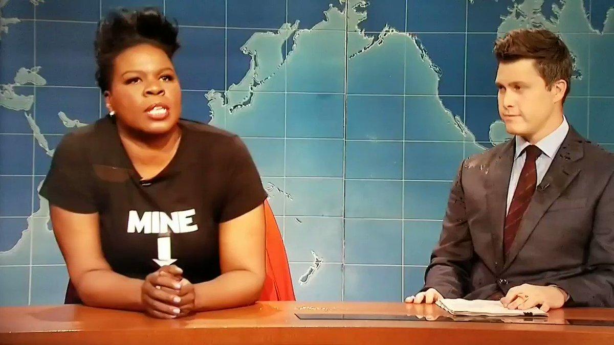 "Leslie Drakarys ""That Bitch"" Jones, wearing a t-shirt saying ""MINE"" was the most powerful, FIERCE bit of Weekend Update EVER. #SNLFinale"