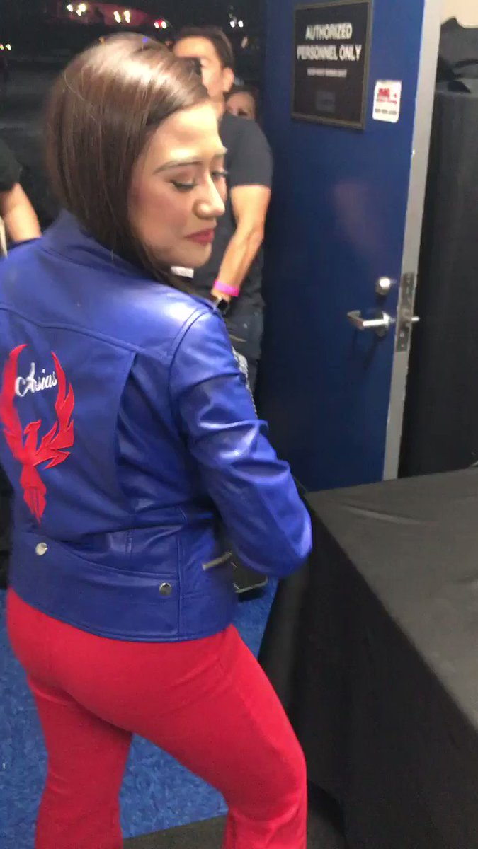 "Morissette Amon enjoying her new gift! (blue leather jacket; back has ""Asia's""; then the Phoenix bird. Asia's Phoenix! (Dale Minger bought the jacket; Jason of JKReactions gave her the jacket on behalf of all mowienatics. @itsMorissette #morissette #morissetteamon #itsmorissette"