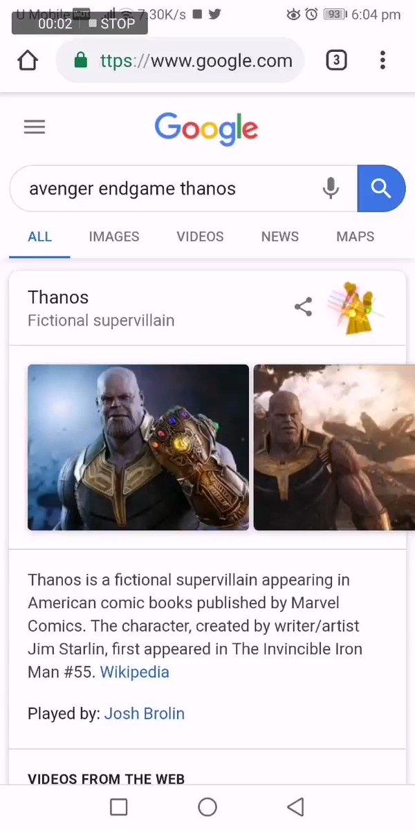 Thanos has spotted at Google. #AvengersEndgame