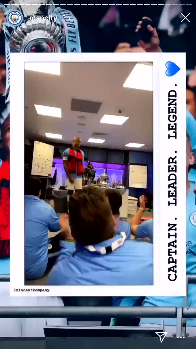 The moment Vincent Kompany announced his departure to the Manchester City dressing room at Wembley yesterday. 💙  [IG: mancity]
