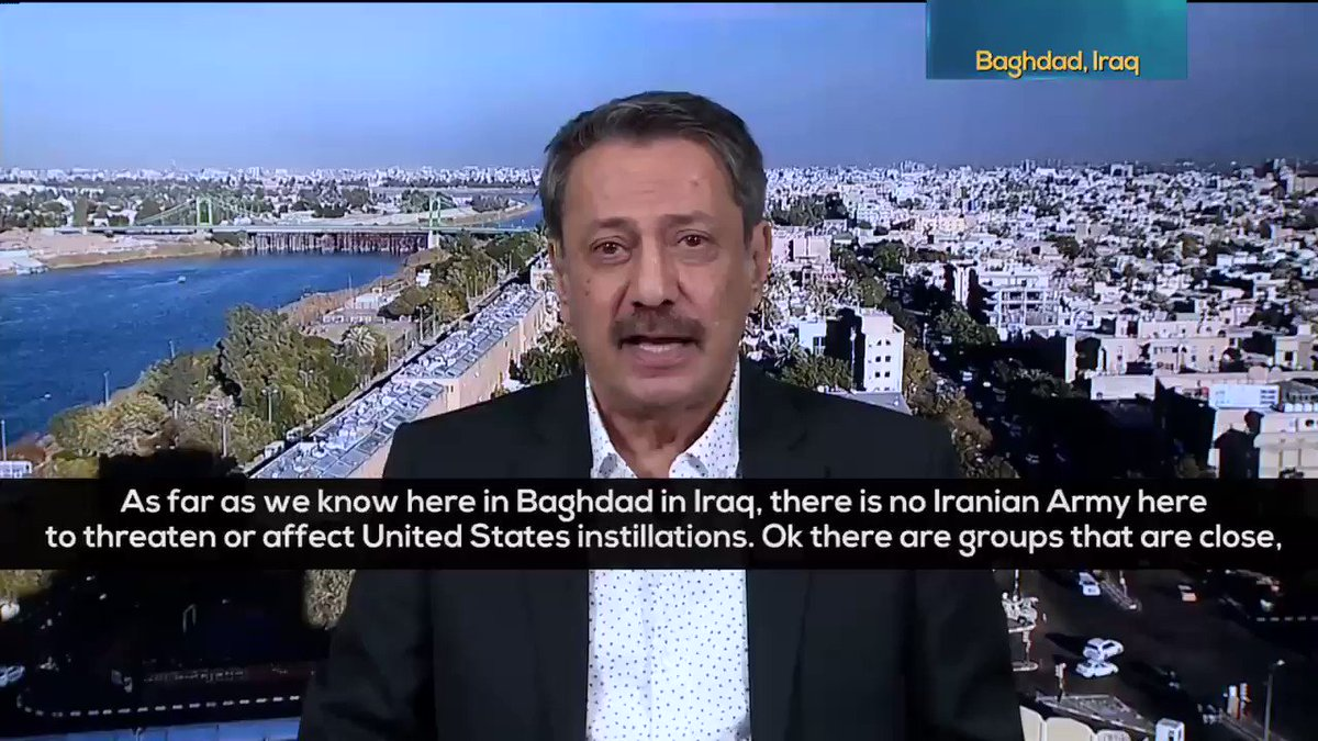 """""""As far as we know, there is no Iranian🇮🇷 Army here to threaten US installations! Maybe somebody wants to create a proxy war on Iraqi🇮🇶 soil which we TOTALLY REJECT!"""" -Saad al-Muttalibi discusses US-Iran tensions & the possibility of war TOMORROW ON RT! youtube.com/user/GoingUnde…"""