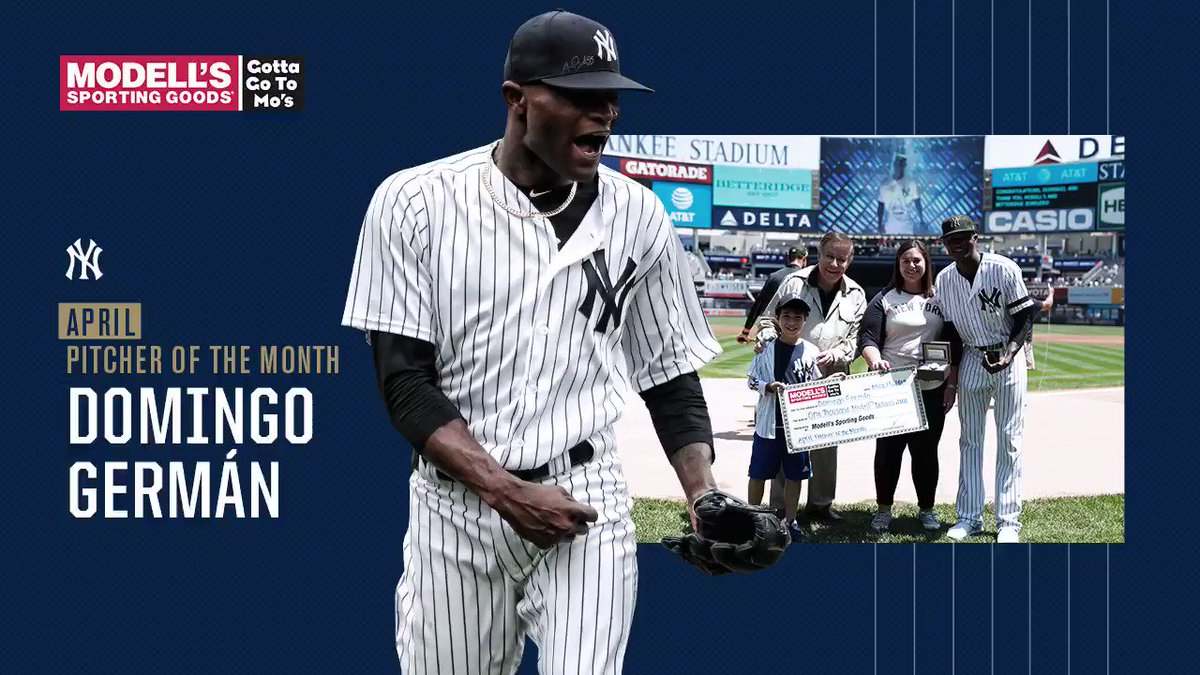 Congratulations to Domingo Germán on being named the @Modells Pitcher of the Month for April.