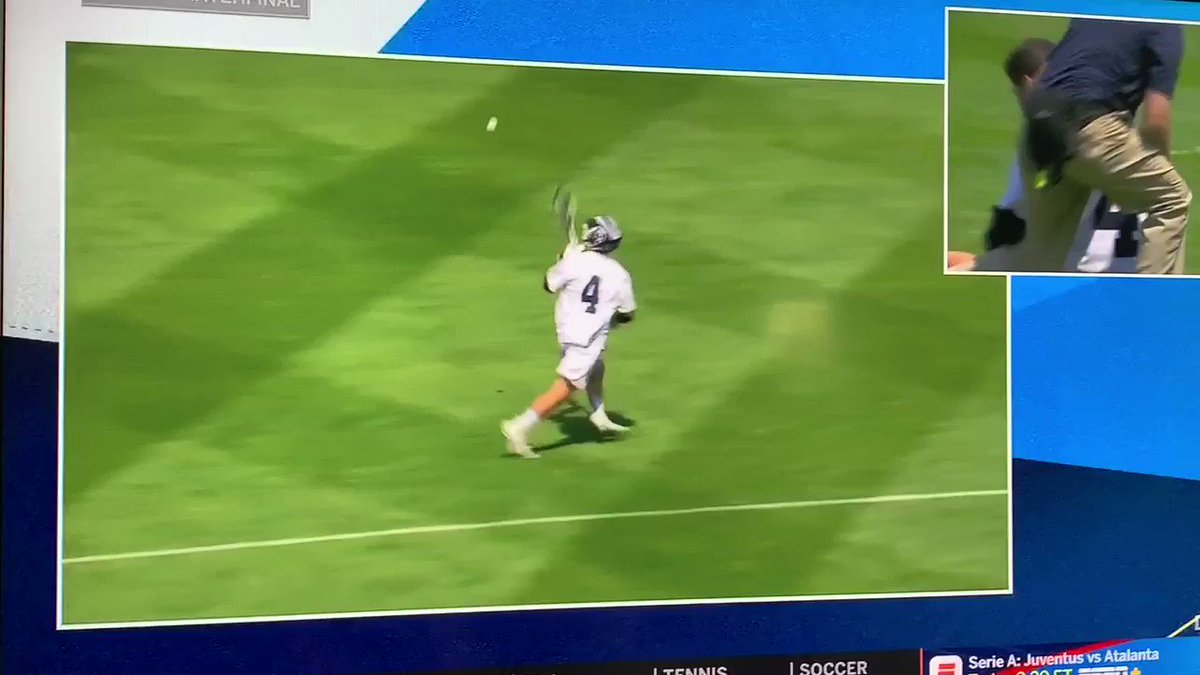 Hit him so hard that his stick snapped in half 😲 #NCAALAX
