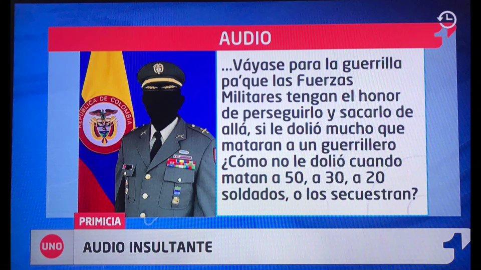 Este fue el audio que recibí, publicado en @NoticiasUno, en el que un miembro de Ejército insulta al Gral Villegas quien pidió perdón por el asesinato de Dimar Torres a manos de las FFMM.Parece que defender la paz y ceñirse a cumplimiento de los DDHH no es política del Gobierno