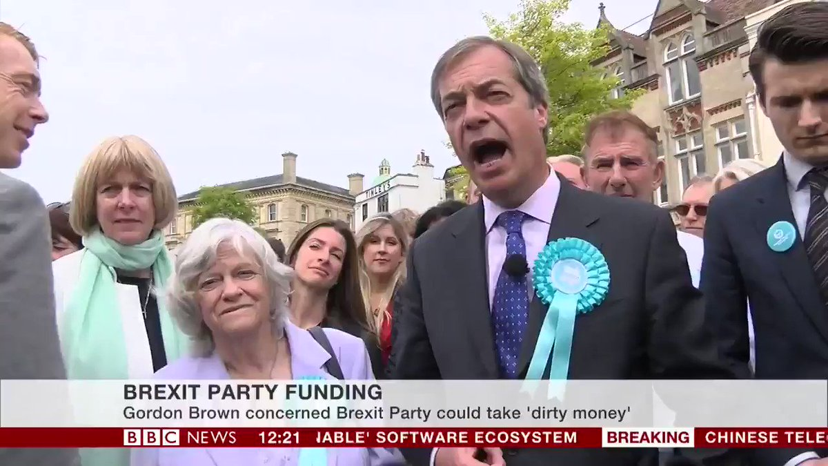 Nigel Farage says claims of a lack of transparency around Brexit Party funding are a disgusting smear, accusing other parties of jealousy bbc.in/2HCMUVk