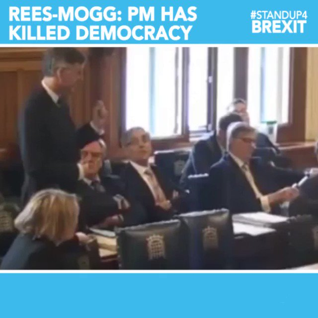 """""""17.4 million people voted to leave. 500 members of this House voted to exercise Article 50, and one person - the Prime Minister - who had said 100 times that we would leave on the 29th March, stopped it, and that killed democracy"""" @Jacob_Rees_Mogg   #StandUp4Brexit #NoConfidence"""