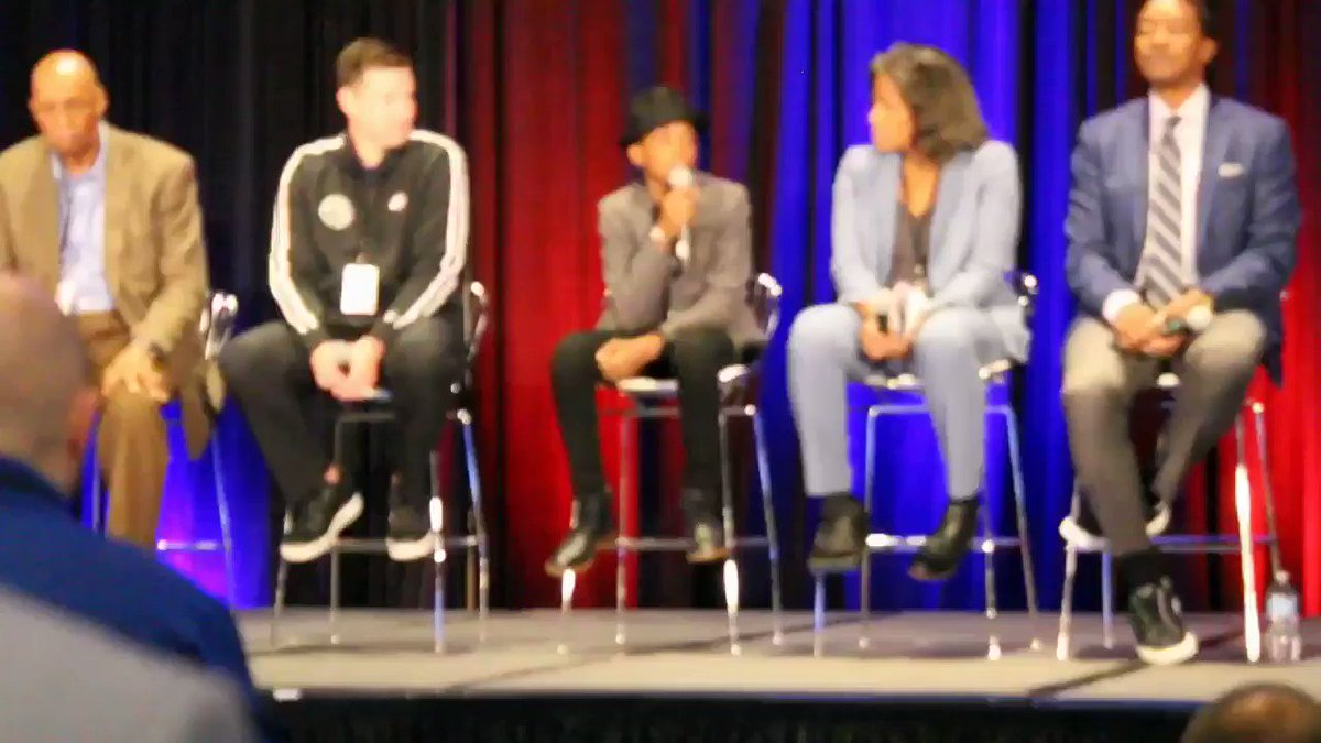 "Young Jahkil with a little knowledge for the panel at the @jrnba conference 😌 ""You Guys Are Old"" #JrNBAUAConference 🗣 @jrnba  #ProjectIAM #JahkilJackson #JrNBA"