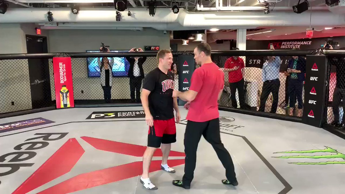 New @UNLVathletics men's basketball head coach T.J. Otzelberger visited the @UFCPI today, going through an MMA with @ForrestGriffin.