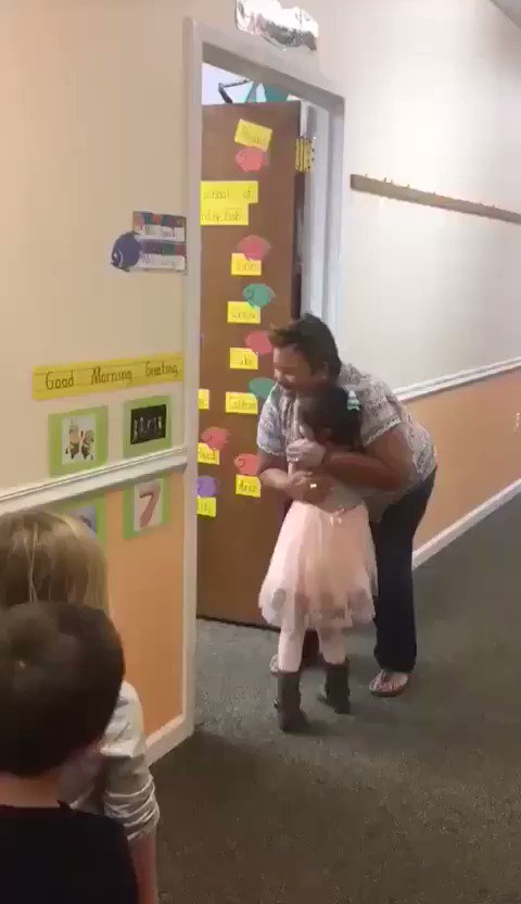 What an awesome teacher!  There is power in greeting students at the door.  This instantly sets a positive tone between the student and teacher.  Studies have shown this increases academic engagement by 20% and decreases disruptive behavior by 9%.   We need more of this!