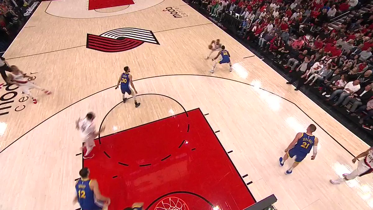 "Q2 5:33 - Here's a good example of a gather and continuation play. Lillard's ""gather"" is considered when he ends his dribble and has control of the ball. He is then fouled by Bogut who slides over late and bumps Lillard as he shoots. It's a correct call. #RefWatchParty"