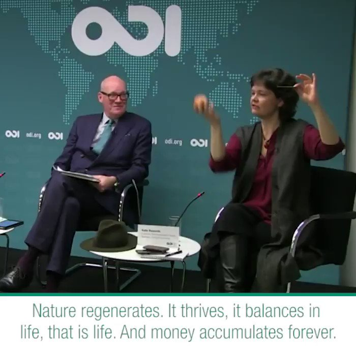 """Nature regenerates... And money accumulates forever. And this to me is our ultimate conundrum.""  @KateRaworth shares views in her debate with @MLiebreich on #greengrowth and #climatechange.  Find the video or podcast: https://buff.ly/2GqApMZ  #TuesdayThoughts"