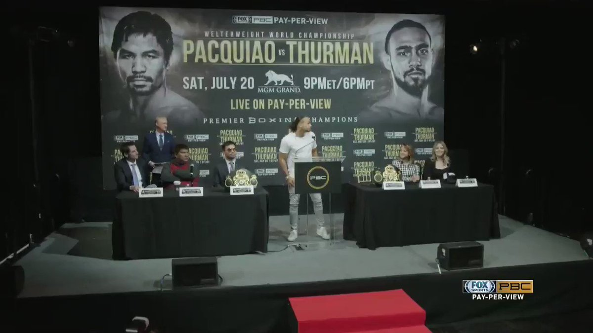 It's a new era of boxing. Floyd is gone, Pacquiao is here — but come July 20th he will disappear! #PacquiaoThurman #OneTime
