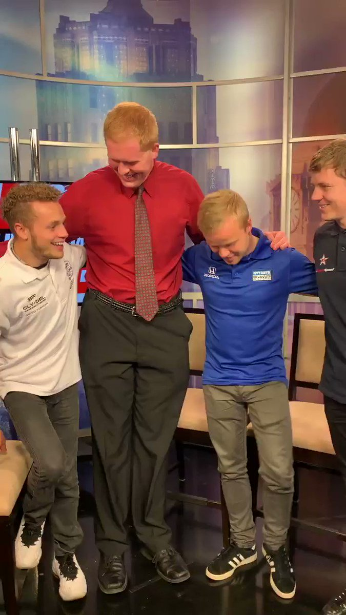 When the @wane15 intern wants a photo with the @IndyCar rookies @FRosenqvist @SantinoFerrucci + @benhanley85 during the #Indy500mediaday... adjustments have to be made. But #IndyCar drivers know how to adjust on the fly. #Indy500MediaDay