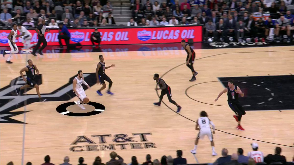 """The @spurs preach the philosophy of """"team basketball"""" to their players, and demonstrated just that on this impressive possession in which everyone on the floor touched the ball! 👏 #NBABreakdown #TeachingTuesday   Work on your passing: https://on.nba.com/2OFvESs"""
