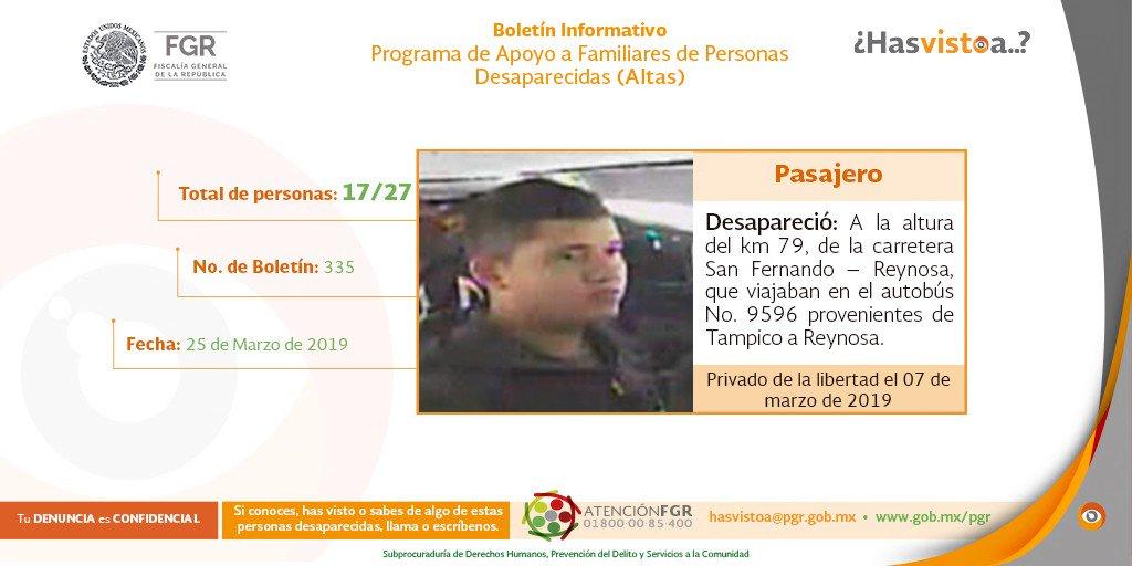 Ayuda a difundir, alguien puede tener algún dato que contribuya a encontrar a estas personas o si #HasVistoA, tienes alguna información que permita su localización, llama al 01 800 00 85 400 o escribe a hasvistoa@pgr.gob.mx. #AtenciónFGR