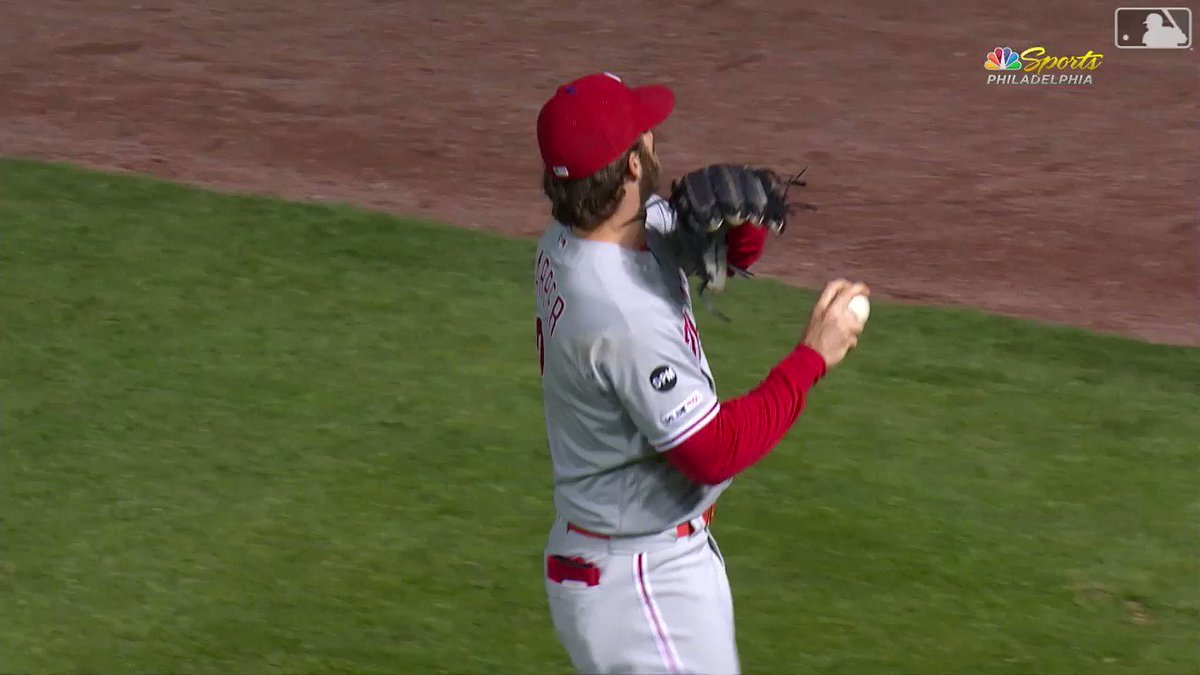 How much you wanna make a bet that Bryce can throw a baseball over them rooftops? (h/t @NBCSPhilly)