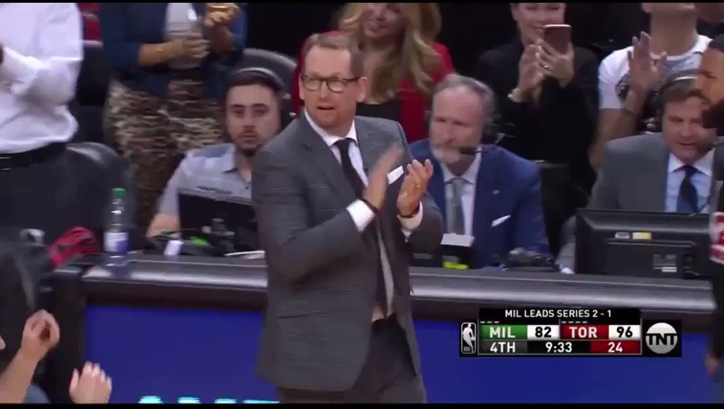 Video: Drake Just Massaged Nick Nurse's Shoulders During The Game