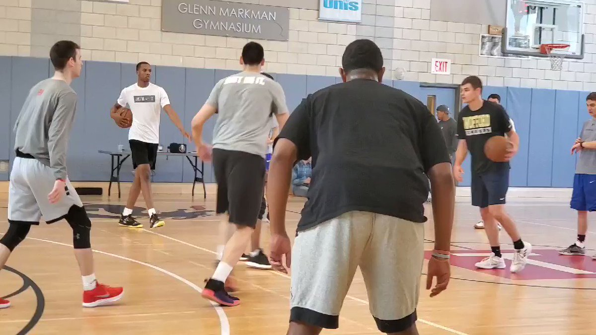 More Goga Bitadze showing his explosiveness in NYC the day before all 30 NBA teams will be watching him at his Pro Day.