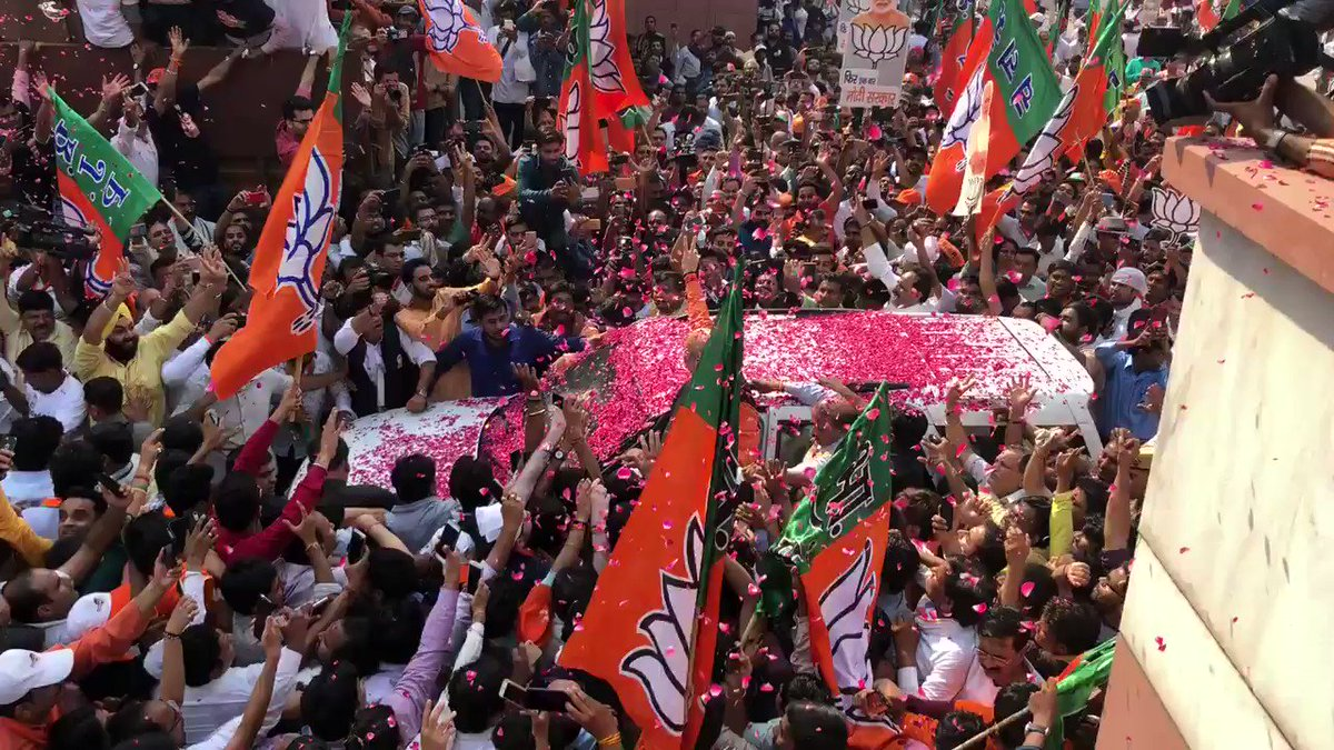 BJP party president joins celebrations at HQ in Delhi. #IndiaElection2019. #BJPWinning #ModiSweeps.
