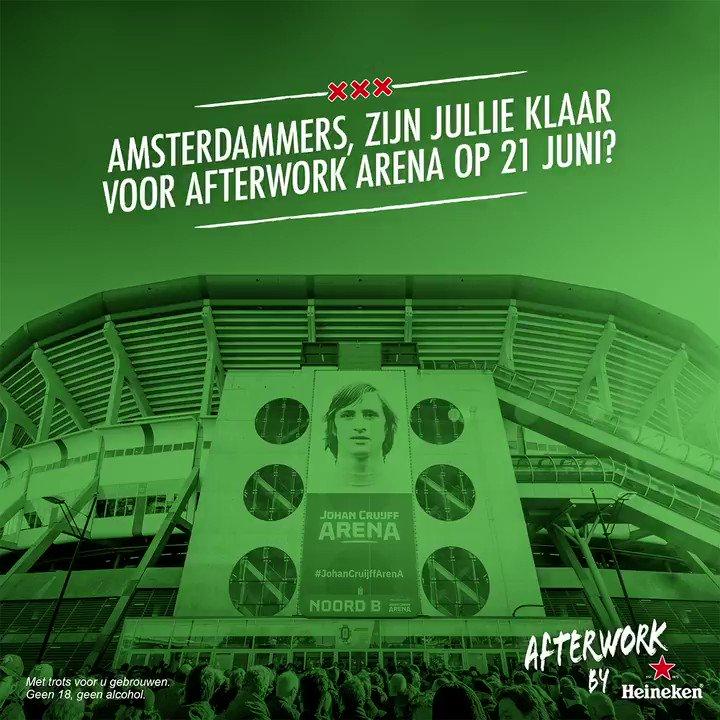 Ben jij klaar voor de állergrootste Mokumse Afterwork OOIT!?  Op vrijdag 21 juni laat de ArenA de stad trillen, want samen met zes Amsterdamse nachtparels geven we dé Heineken Afterwork der Afterwork edities.  Inschrijven? 👉🏼 http://bit.ly/2WHVkkl