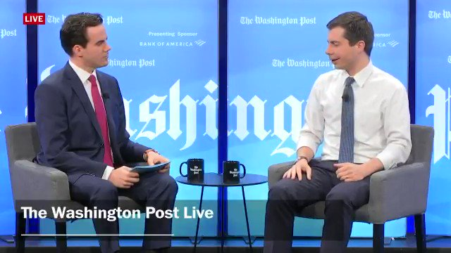 """Robert Costa: """"Do you think [Trump] should have served in Vietnam?"""" Pete Buttigieg: """"Well, I have a pretty dim view of his decision to use his privileged status to fake a disability in order to avoid serving in Vietnam."""" Via WaPo Live"""