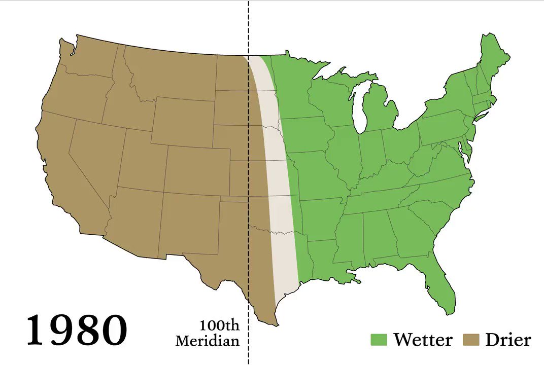 Beyond the 98th Meridian: the iconic boundary between the humid East and more arid West has shifted some 140 miles since 1980, according to recent research. It's one of many climate zones around the world that are on the move.  https://e360.yale.edu/features/redrawing-the-map-how-the-worlds-climate-zones-are-shifting…  https://e360.yale.edu/digest/a-north-american-climate-boundary-has-shifted-140-miles-east-due-to-global-warming…