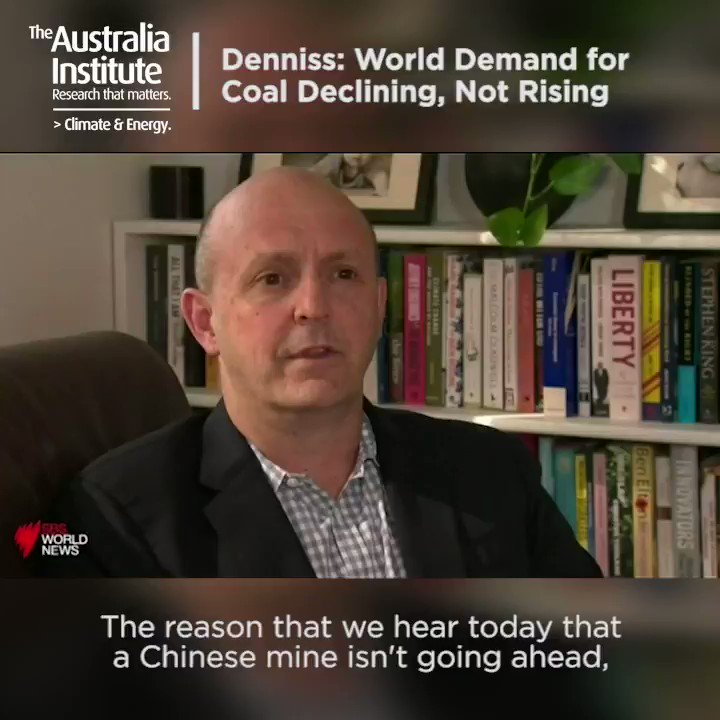 """""""The reason we hear mines aren't going ahead & that BHP is withdrawing further from coal, is that a vast majority of people around the world thinkdemand for coal is going to shrink, not rise,"""" says Richard Denniss @RDNS_TAI from @TheAusInstitute on @SBSNews #auspol #NNCM"""