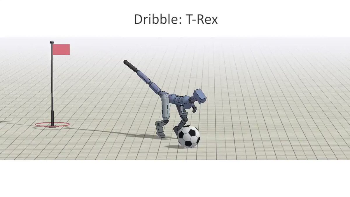 Ever wanted to train a T-Rex to play soccer? Check out our new paper on learning composable motor skills with multiplicative compositional policies (MCP): http://xbpeng.github.io/projects/MCP/   Big thanks to all my collaborators: @mmmbchang, Grace Zhang, @pabbeel, @svlevine