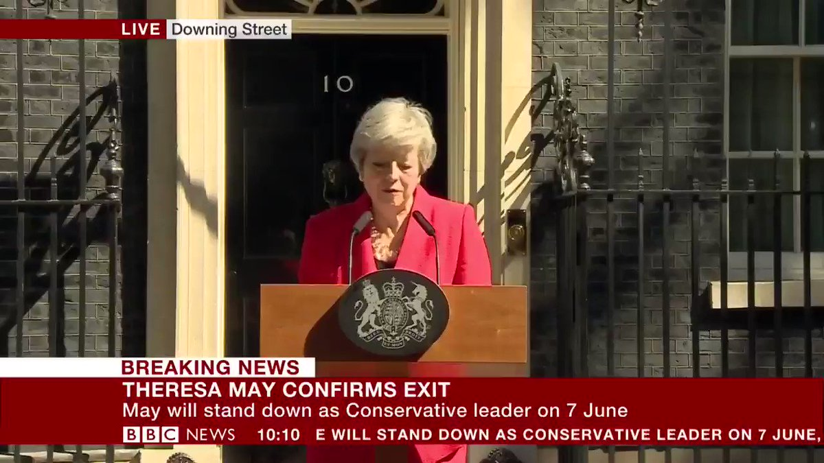 "A tearful Theresa May says serving as prime minister has been ""the honour of my life"", saying she is proud to have been the second female leader of the UK  Live updates: http://bbc.in/2HQKCSu"
