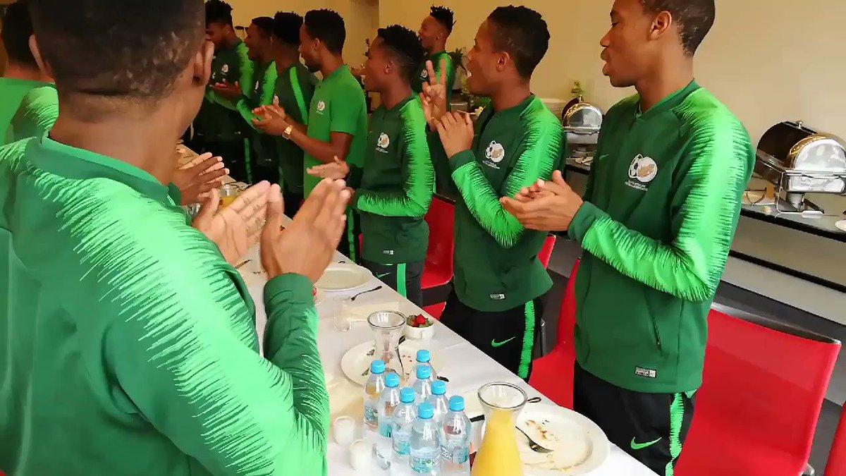 HAPPY BIRTHDAY PRO: Amajita wishing midfielder Promise Mkhuma a happy birthday at the team's hotel in Katowice, Poland today.