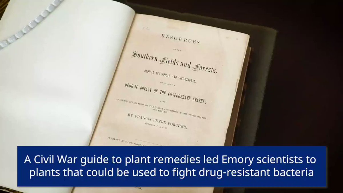 A Civil War guide to plant remedies helped Emory undergrad Micah Dettweiler and Emory researchers discover three plants that effectively fight drug-resistant bacteria related to wound infections  https://t.co/w60ujFXqmm