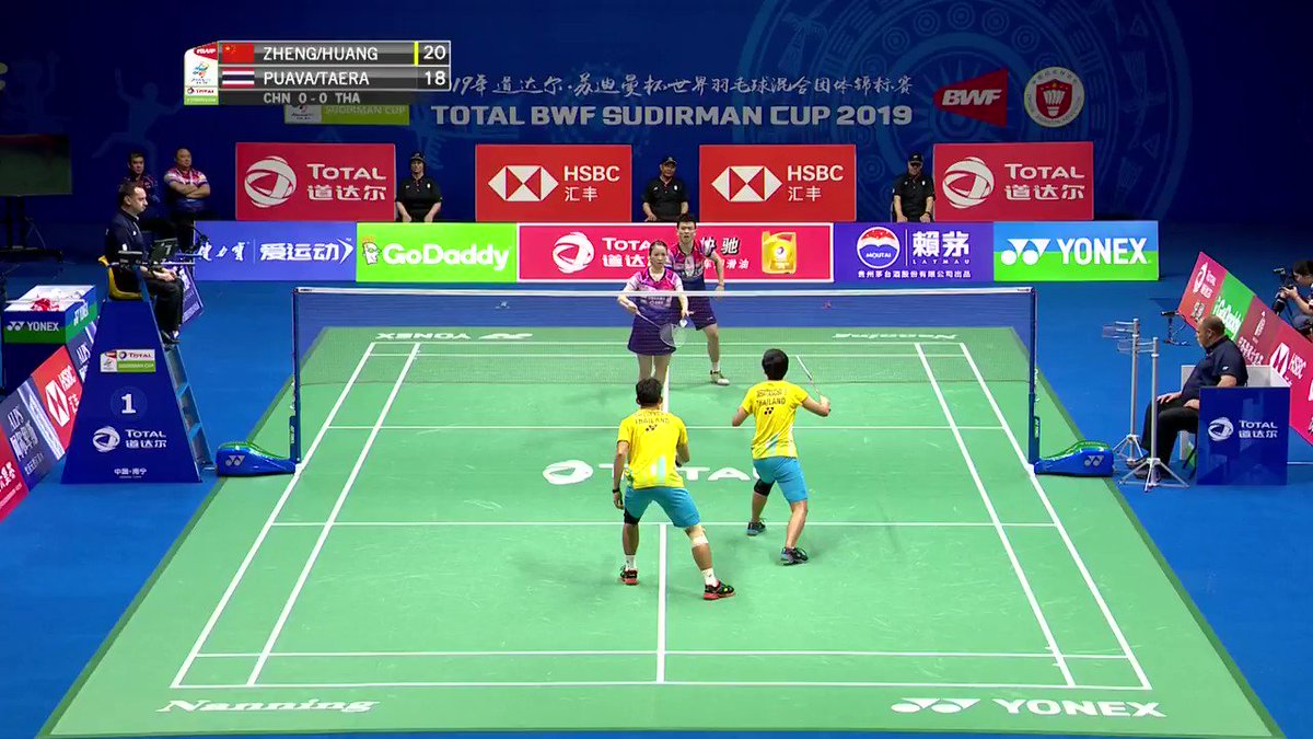 This game point is out of the ordinary RESULTS: https://bit.ly/2YJT9xxCatch it live on http://badmintonworld.tv #TOTALBWFSC2019 #Nanning2019