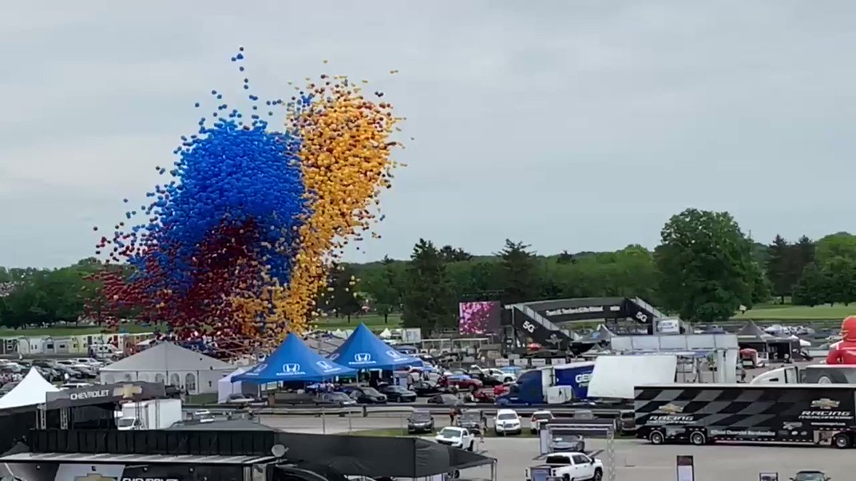 """Balloon release at the #indy500 as """"Back Home Again in Indiana"""" is performed by the great Jim Cornelison!"""