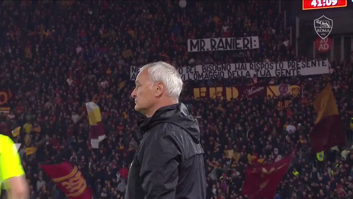 """Roma fans sign for Claudio Ranieri: """"Mr. Ranieri, in our moment of dire need, you have answered. Now, you receive the homage of your people""""  Ranieri can't hold back the tears. This is more than football."""