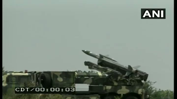 #WATCH DRDO yesterday successfully test fired the Akash-1S surface to air defence missile system in Balasore off the Odisha coast. It is a new version of the missile fitted with an indigenous seeker. It was the second successful test of the missile.