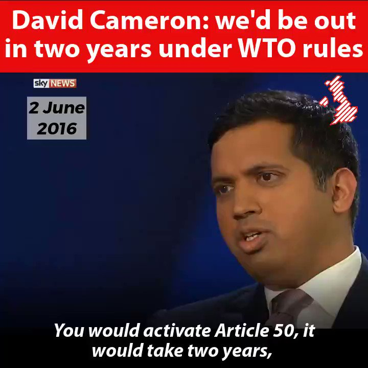 Remainers claim that before the referendum, leaving the EU without a deal wasn't mentioned.....so here's the leader of the remain campaign, David Cameron.....not mentioning it! It's a blatant lie when remainers claim WTO terms were never mentioned!