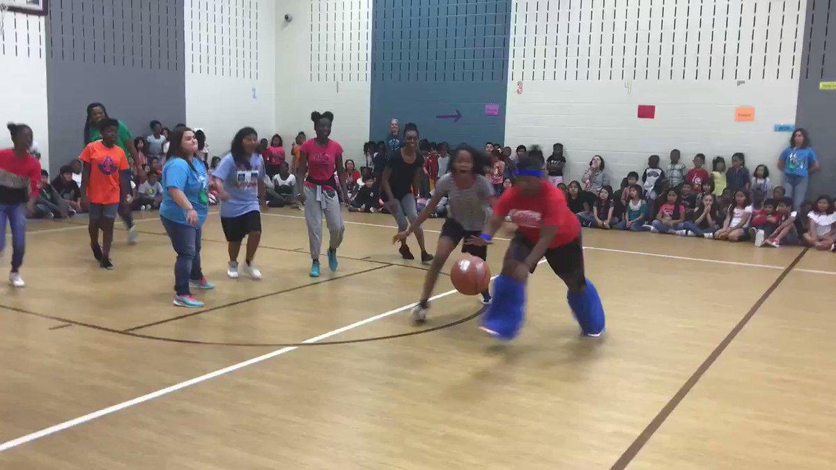 Image for the Tweet beginning: 6th Graders va Staff Basketball