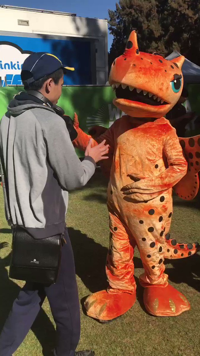 Pre-mascot race pics: I'm having a cuddle with the lovely Amber the dragon (the mascot from the @ScorchersBBL Women's team) at the @WADayFestival in Burswood.🐲🧡 https://youtu.be/6ja6YHV5-Jo   #WADay #WADay2019 #wadayfestival #perth #burswood #burswoodpark #mascot #bbl #perthscorchers