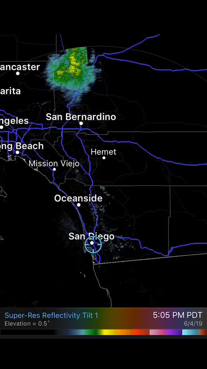 The @NWSSanDiego reports that the large echo showing up on radar in Southern California last night was actually a cloud of ladybugs about 80 miles by 80 miles in size flying at between 5,000 and 9,000 feet: https://www.latimes.com/local/lanow/la-me-ln-ladybugs-on-radar-20190604-story.html …