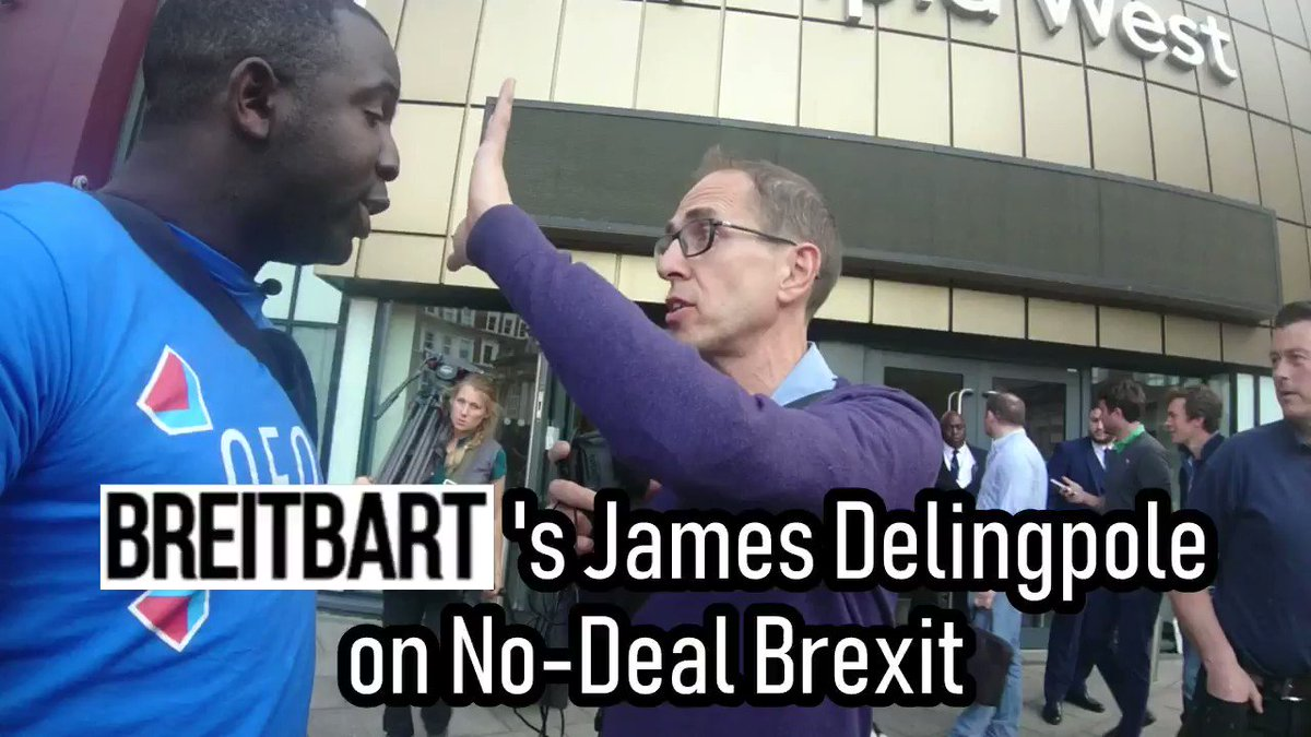 After @Femi_Sorry was done getting water thrown at him and poked in the face with flagpoles at the Brexit Party rally, he bumped into Breitbart's @JamesDelingpole!