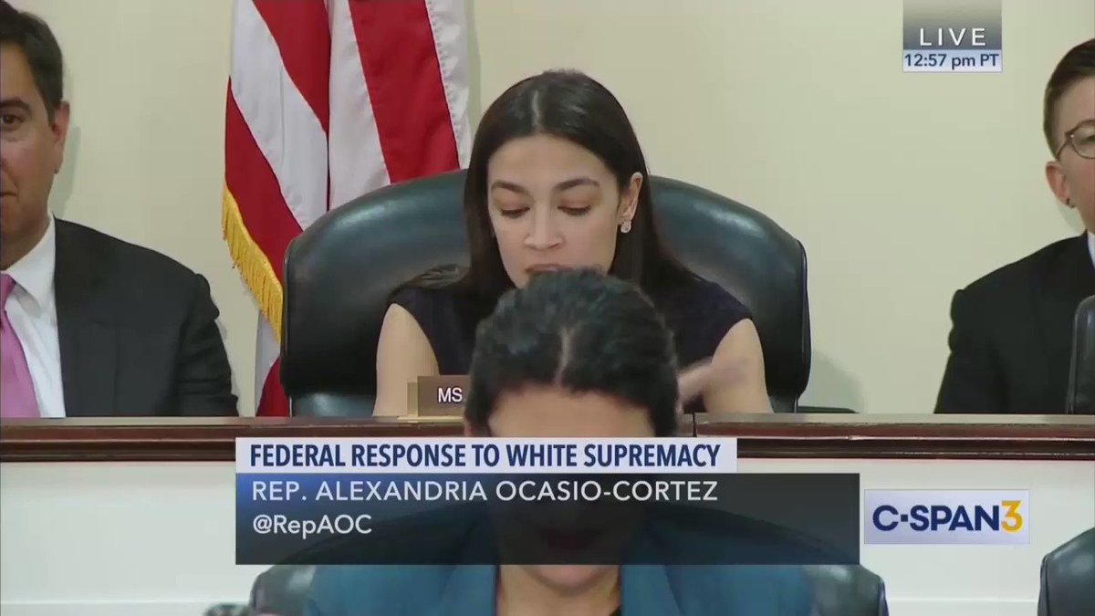 """WATCH FBI Asst. Director of Counterterrorism have to explain to the *lawmaker* Alexandria Ocasio-Cortez that no """"domestic terrorism"""" statute exists...  He has to explain this to her, like he's talking to a child.  This is pitiful ⬇️"""
