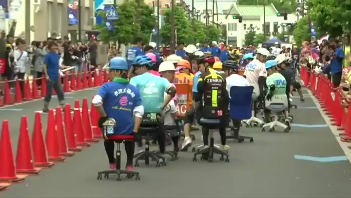 In the end, the only sport that matters; human competition at its purest and finest: it's Japanese office chair racing.