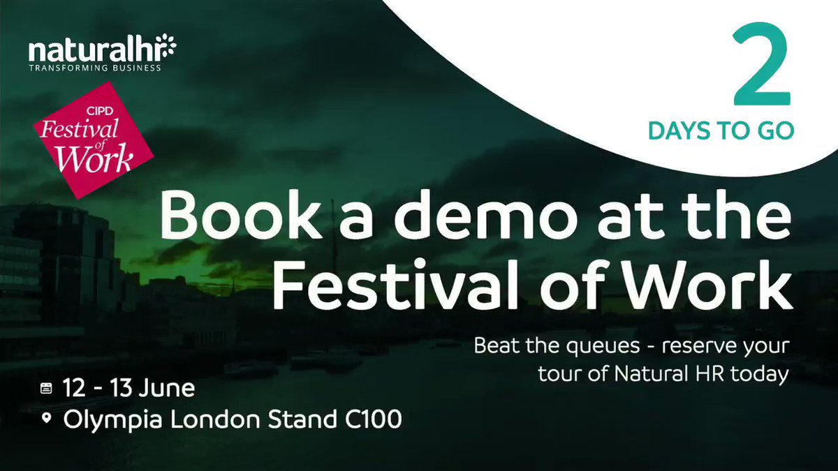 @CIPDs Festival of Work is now only two days away. If you'd like to beat the queues at the Natural HR stand (C100) and have a guided tour of our all-in-one HR software, then book your demo in advance today! Pre-book your private session: hubs.ly/H0jf2tz0 #FestivalOfWork