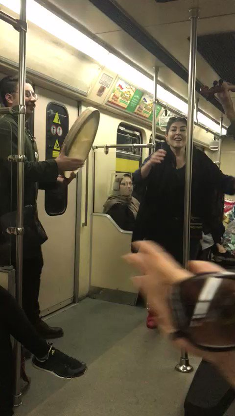 #Iranian woman dancing in Tehran metro without forced hijab. Fight on, sisters.