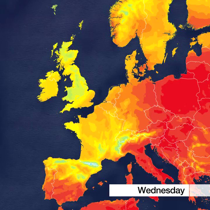 For #summer heat ...look east!Big temperature contrasts across Europe as the #heatwave continues in eastern areas in particular