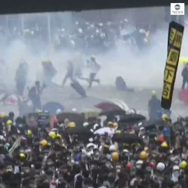 Police fire tear gas at throngs of protesters in the streets of Hong Kong amid growing anger over the government's proposal to change an extradition law. http://abcn.ws/2I92skY