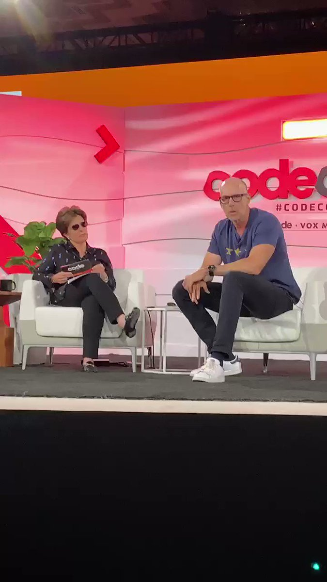 """""""He is the most dangerous person in the world."""" - @profgalloway on Facebook CEO Mark Zuckerberg   Galloway says Facebook's board should fire Zuckerberg as CEO. #CodeCon"""