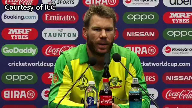 "David Warner ""Amir's a world-class bowler. When he's swinging it, it's very difficult to try to get on top of him. Then when it's seaming and swinging, it's even harder"" #AUSvPAK #CWC19"