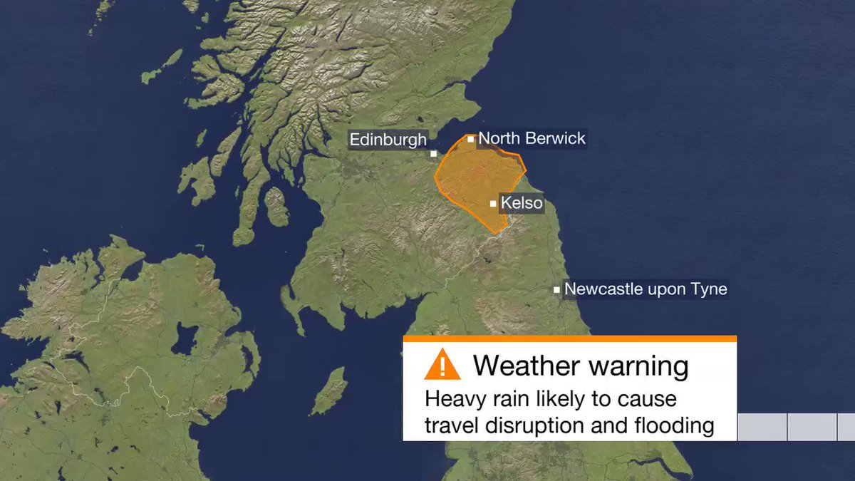 While many have had very heavy rain overnight, the focus of today's rain will be in SE Scot where there is a @metoffice amber warning.  Travel and flooding problems likely...