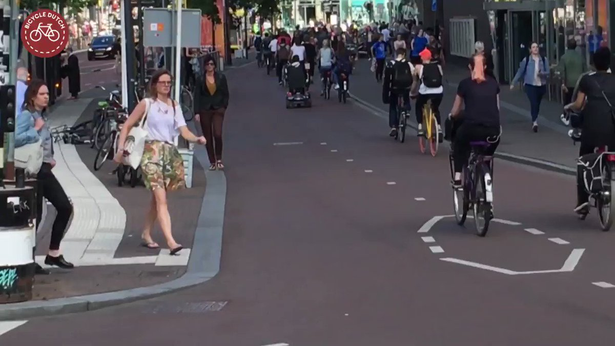 To an outsider used to walking across a car-dominated street, crossing a busy cycle track might appear difficult at first.  But with the traffic moving far slower—and the ability to make eye contact and adjust speed—the truth is it that it's much easier.  https://bicycledutch.wordpress.com/2019/06/12/how-hard-is-it-to-cross-the-cycle-path/ …